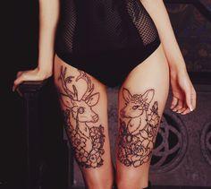 exemple tatouage 2 cuisses femme cerf et biche