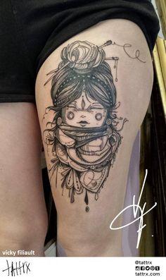 crâne horloge hibou tattoo