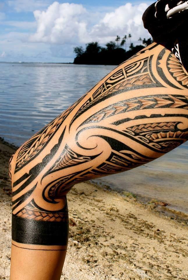 tatouage maori cuisse complete femme
