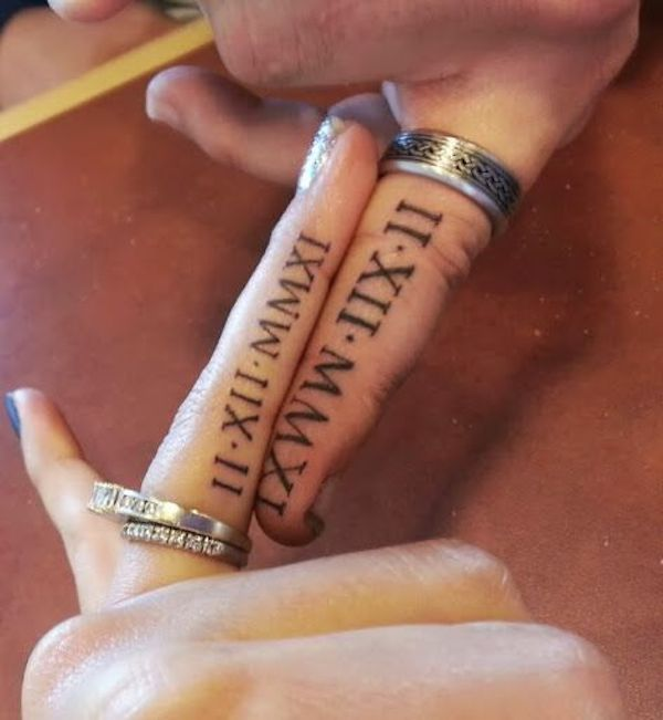 modele tatouage ecriture interieur doigt chiffres romains tatouage femme. Black Bedroom Furniture Sets. Home Design Ideas