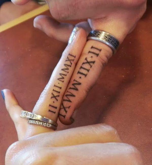 Modele tatouage ecriture interieur doigt chiffres romains tatouage femme - Tatouage doigt prix ...