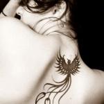 beau phoenix tatouage femme discret base de la nuque haut du dos