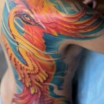 exemple beau tatouage phoenix femme tres colore dos