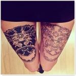lion femme a tatouer sur les 2 cuisses
