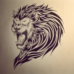 lion tribal femme a tatouer