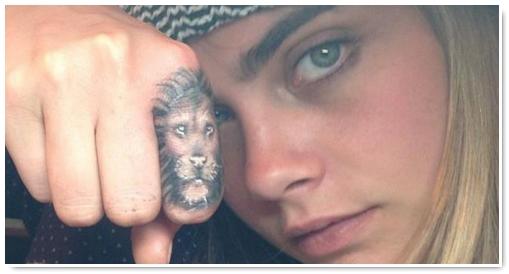 tatoo femme doigt tete lion cara delevingne