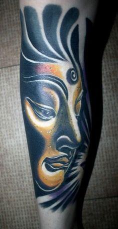 bouddha tatouage femme portrait porfil bras