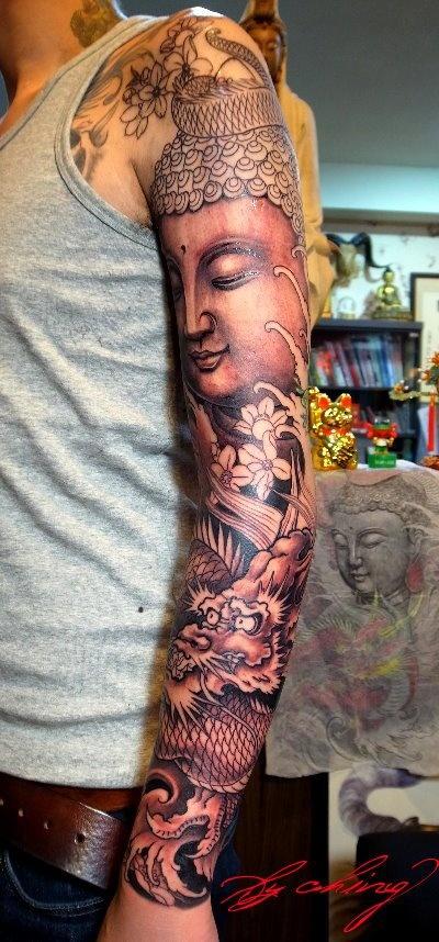 idee tattoo bouddha manchette bras entier
