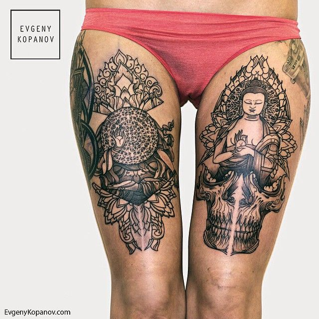 modele tatouage bouddha cuisse avec tete de mort