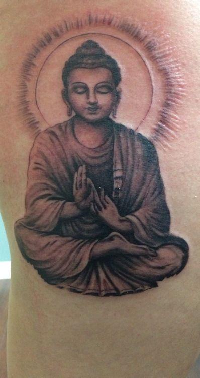 modele tatouage bouddha position de lotus cuisse
