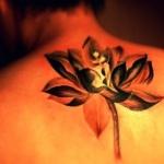 tatouage fleur de lotus fille dos aquarelle