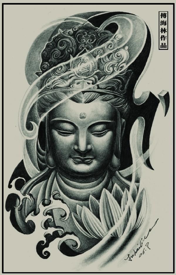 tatouage tibetain bouddha femme modele avec fleur de lotus