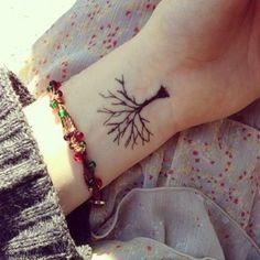 modele tatouage arbre interieur poignet