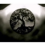 tatouage arbre de vie dans cercle dos femme