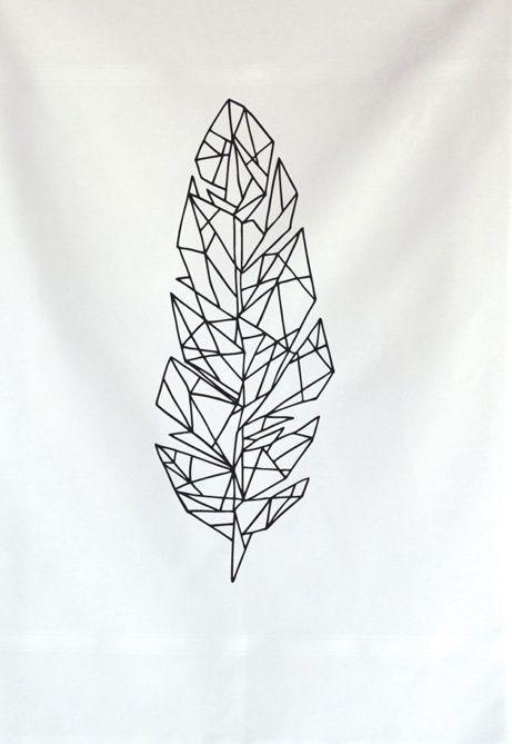 dessin tattoo feminin plume geometrique