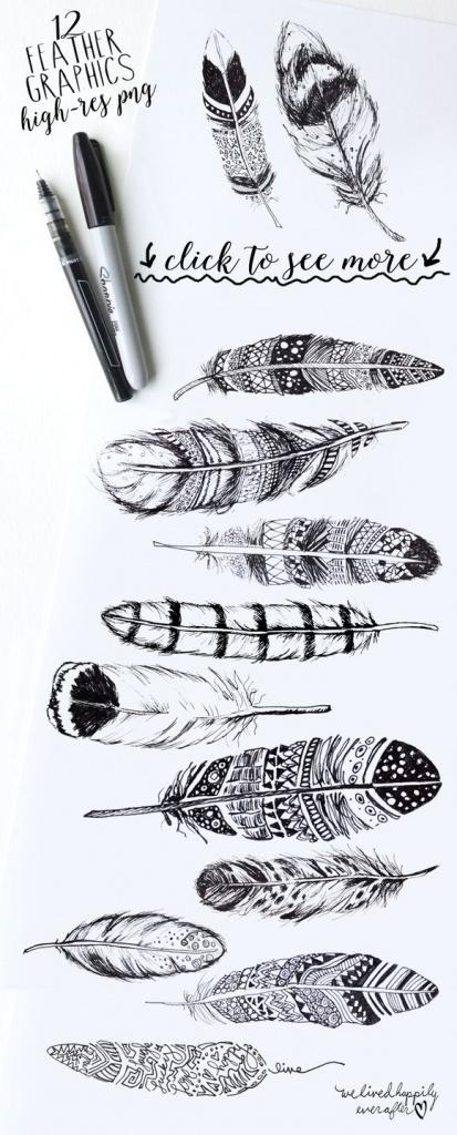 modeles dessins tatouages plumes pour idees