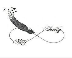 tatouage femme infini plume oiseaux et mots