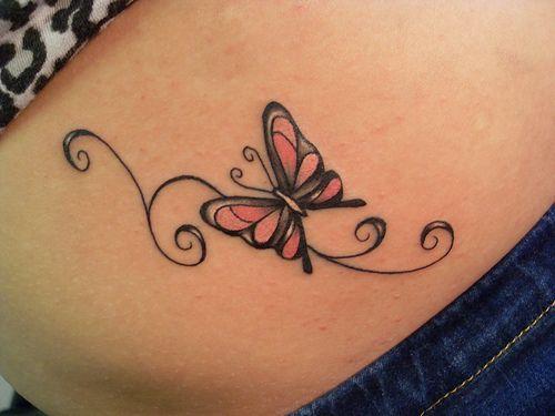 modele tatouage papillon et arabesque sur ventre feminin tatouage femme. Black Bedroom Furniture Sets. Home Design Ideas