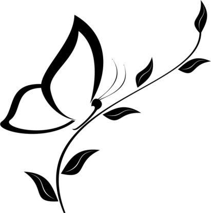 motif profil papillon sur une fleur pour tattoo feminin