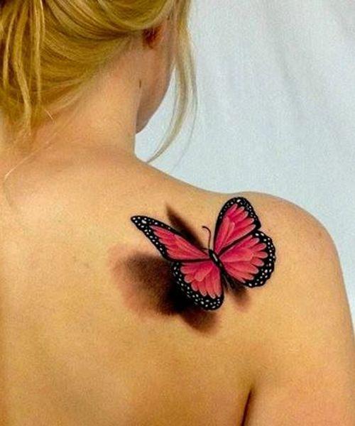tatouage femme papillon 3d rose et noir epaule