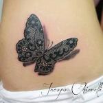 tatouage femme papillon dentelle ventre effet 3d avec ombre