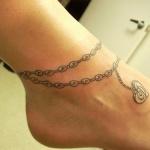 tattoo coeur pendentif bracelet cheville