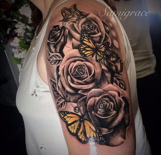 tattoo manchette avec papillons et roses tatouage femme. Black Bedroom Furniture Sets. Home Design Ideas