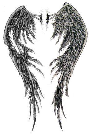 dessin tatouage ailes ange pour dos femme