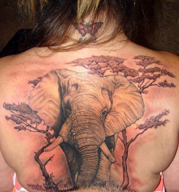dos femme a tatouer elephant dans savane photorealiste