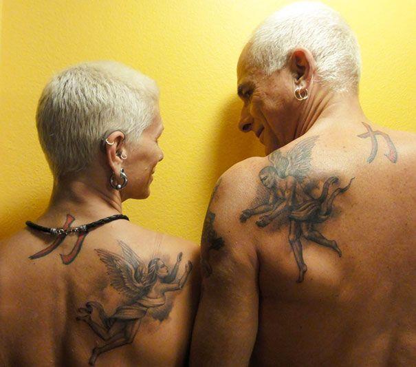 tatouage dos ange omoplate couple homme et femme