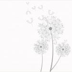 dessin avec symboles dandelion dont une fleur qui s envole pour tattoo femme