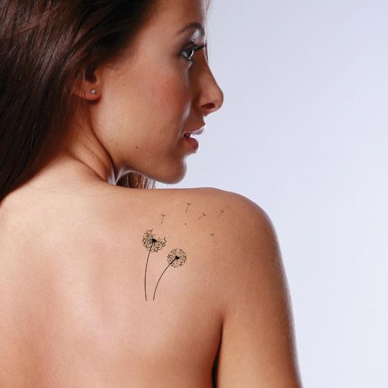 Tatouage pissenlit femme discret et delicat omoplate tatouage femme - Tatouage minimaliste femme ...