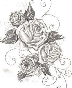 dessin pour motifs tatouage fleur 4 roses et arabesques