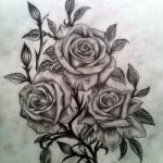 dessin tatouage fleurs 3 roses