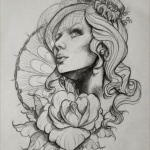 dessin tattoo feminin portrait avec rose tremiere