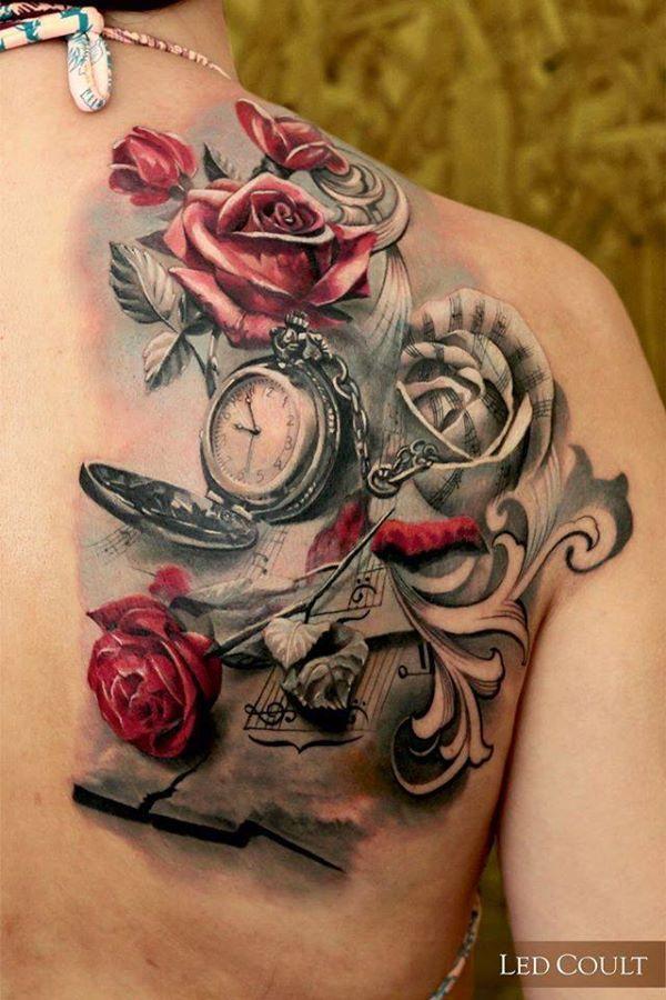 tatouage femme roses rouges dos avec montre