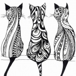 Dessins tatouage femme 3 chats en mandala de dos