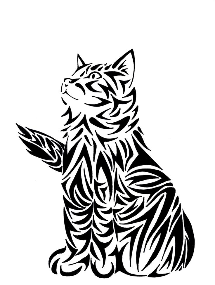 Modele tatouage femme chat tigre regadant vers le haut
