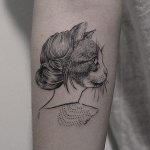 Photo tattoo portrait chat femme