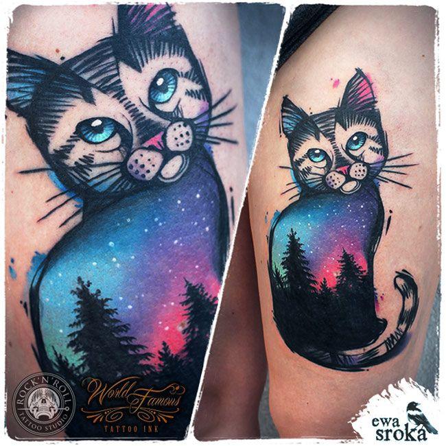 tatouage chat fille colore en bleu et rose avec arbres et etoiles tatouage femme. Black Bedroom Furniture Sets. Home Design Ideas