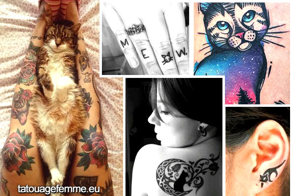 Tatouage chat pour femme