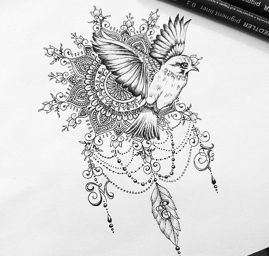 exemple dessin tatouage oiseau qui s envole avec mandala et arabesques tatouage femme. Black Bedroom Furniture Sets. Home Design Ideas