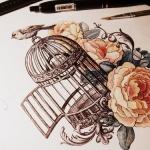 Modele tatouage cage oiseau avec belles roses tremieres
