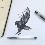 Modele tatouage oiseau avec arbres integres et envol d oiseaux
