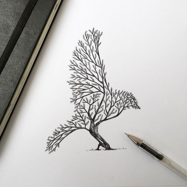Photo tattoo oiseau et arbre confondus