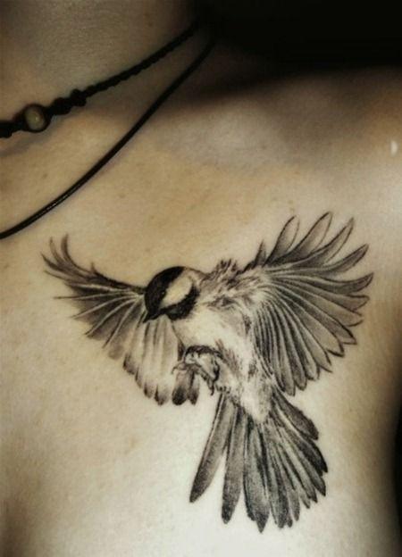 Tatouage femme oiseau ailes deployee dessus du sein