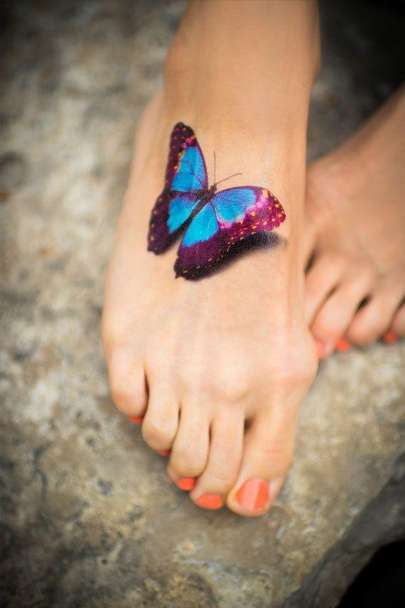 Modele tatouage pied papillon couleur 3d