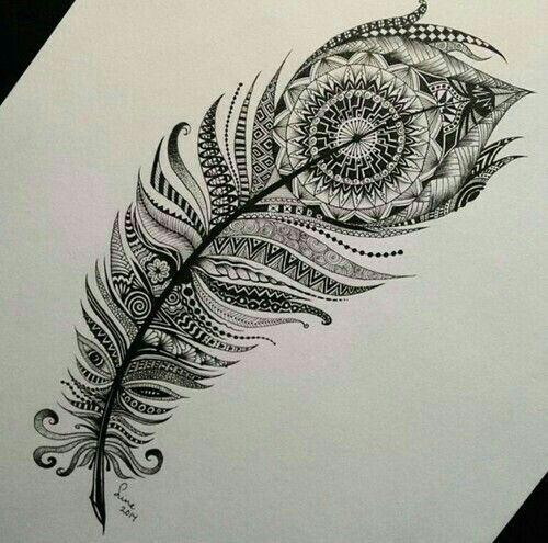 Inspiration plume en mandala pour femme a tatouer