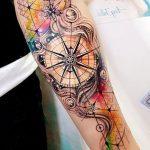 Idee tattoo manchette aquarellee rose des vents femme