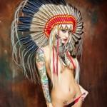 tatouage manchette feminin aquarelle et pin up manga